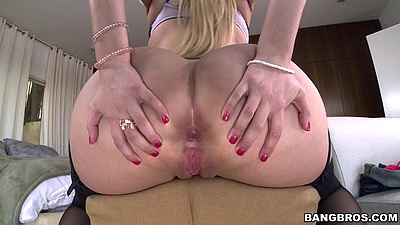 Ass spreading solo Vanessa Cage wearing her awesome phat white girl booty