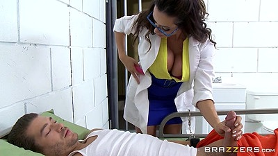 Solid milf latina Ariella Ferrera handjob while wearing her uniform and footjob