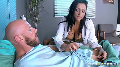 Doctor babe Audrey Bitoni acts naughty with patient
