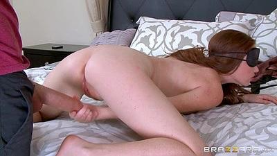 Redhead Kassondra Raine wearing a blind fold receives a strangers cock inher