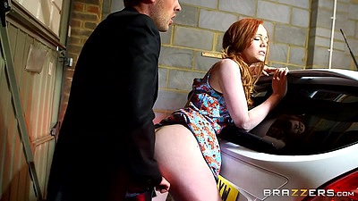 Adorable redhead fully clothed 18 year old Ella Hughes fucked behind a car