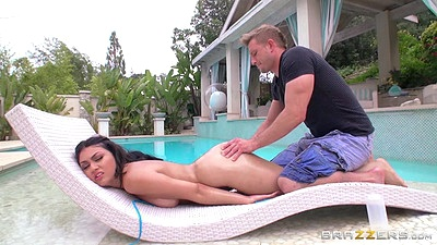 Ass oiled up and anal dildo with stepsister Kylie Sinner wanting anal