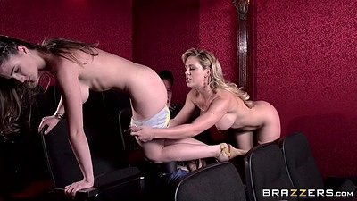 Threesome movie theater stripping and screwing Molly Jane and Cherie Deville