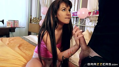 Teen brunette Bella Beretta with perky tits and rolled up shirt