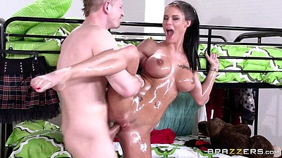 Standing fuck skinny great body oiled up fuck Peta Jensen in dorm room