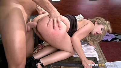 Doggy style anal penetration with office room whore Madelyn Monroe