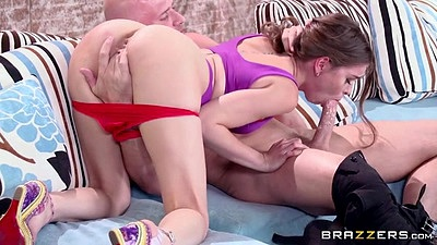 Pulled down panties petite overwhelming Riley Reid doing fellatio