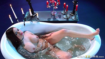 Self pleasure in a tub full of water with Karmen Karma