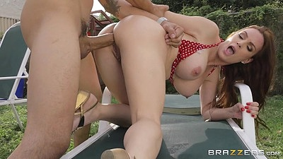 Impressive big breasts milf redhead fuck on pool chair with anal Diamond Foxxx