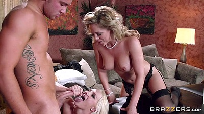 Threesome blowjob and riding girls with Cherie Deville an ds1
