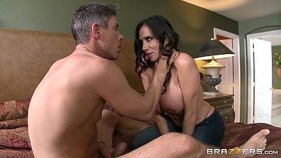 Ripped pants big boobs latina milf on bed Ariella Ferrera and anal
