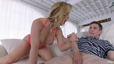 Lingerie handjob with blonde Cherie DeVille