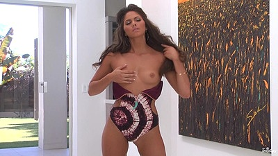 Refined small boobs solo Aspen Rae getting naked and those fingers in