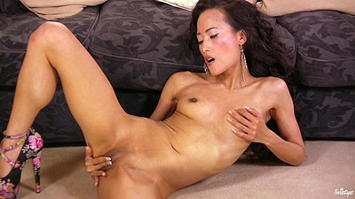 Passionate skinny asian cutie Ayla Sky playing with pussy lips on the floor