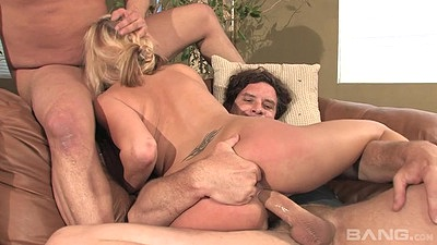 Ass fingering this true mother whore Desire Moore in threesome