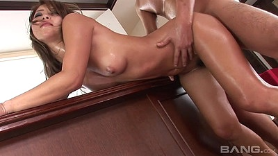 Oiled up asian doggy doggy fuck standing up and close up