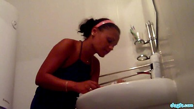 Bathroom touching  and sucking with Russian teen Mila