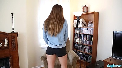 Stripping tight shorts slut Aubrey Snow