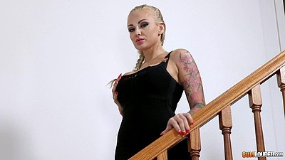 Blonde tattoo Kayla Green walking down the stairs to masturbate