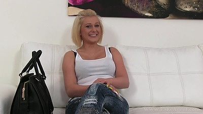 Blonde audition chick shows perfect natural boobs