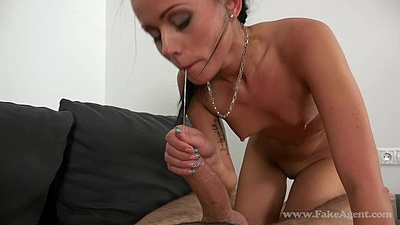 Sucking off dick and riding male agent in office with casting Tina