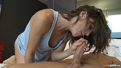 Lovely petite Julia Roca giving a very temping oral fuck