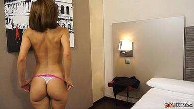 Confident skinny Elisa Love spreading her legs and pussy for pov camera