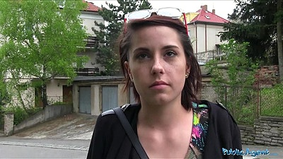 Public student pick up with flashing her bra and panties for some cash