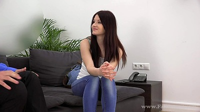 Temping skinny girl Lina is here to make her audition tape