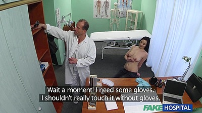Filthy doctor gets a half dressed female patient to touch