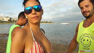 Bikini Marta Sanz trying out water jets