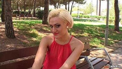 tasty blonde Brenda Starlix flashing her underwear on public park bench
