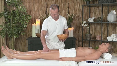 Erotic massage with natural breasts Lola and oil