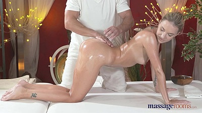 Obsessed with full body massage oiled girl Angel needs cock