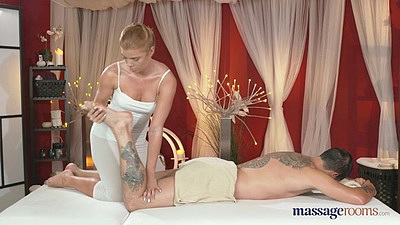 21 year old redhead giving man a massage
