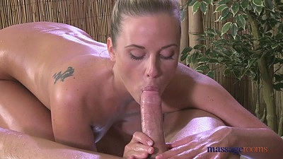 Passionate fellatio during private massage with Caitlin