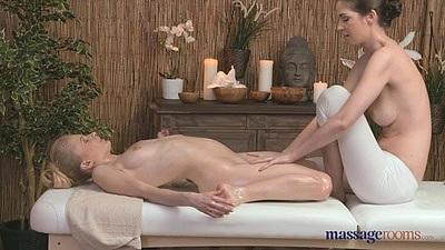 Vanessa with Charlotta having some oil fun on massage table