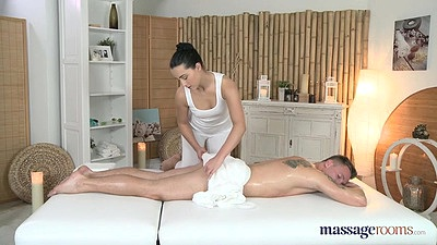 Erotic massage with oil from Anna Rose handjob and sucking cock