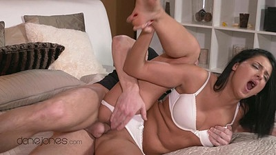 Bras and panties pulled aside underwear pussy penetration with Coco