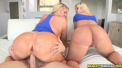 Oiled up big ass milf Julie Cash and Karen Fisher riding some shaft in threesome