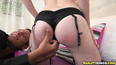 Snappy looking redhead Abby North gets a finger up her bum hole