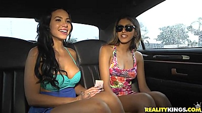 Nice looking dames Sophia Leone and Dylan Daniels driving around and getting naked in our backseat