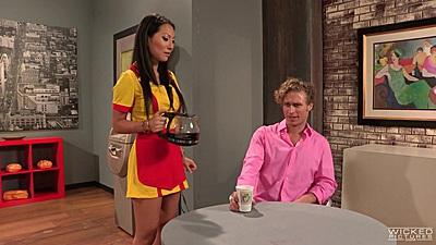 Asian waitress Asa Akira gets the coffee
