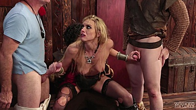 Keira Nicole riding one dick with hairy twat and two dicks in her hand