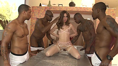 Horny college vixen Riley Reid in interracial gang bang