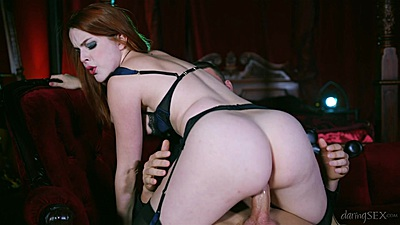 Pale skin red head riding some shaft hardcore style Amarna Miller