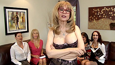 Naughty milf Nina Hartley walking around the place