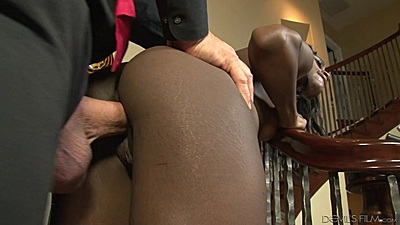 Ebony stepdaughter Monica Rae standing fuck on the stairs