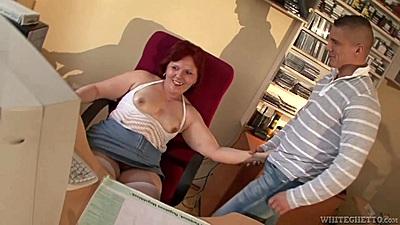 Mature grandma Kati C jerking young males dick