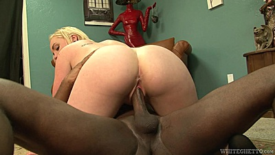 Interracial petite spinner Miley May office bang